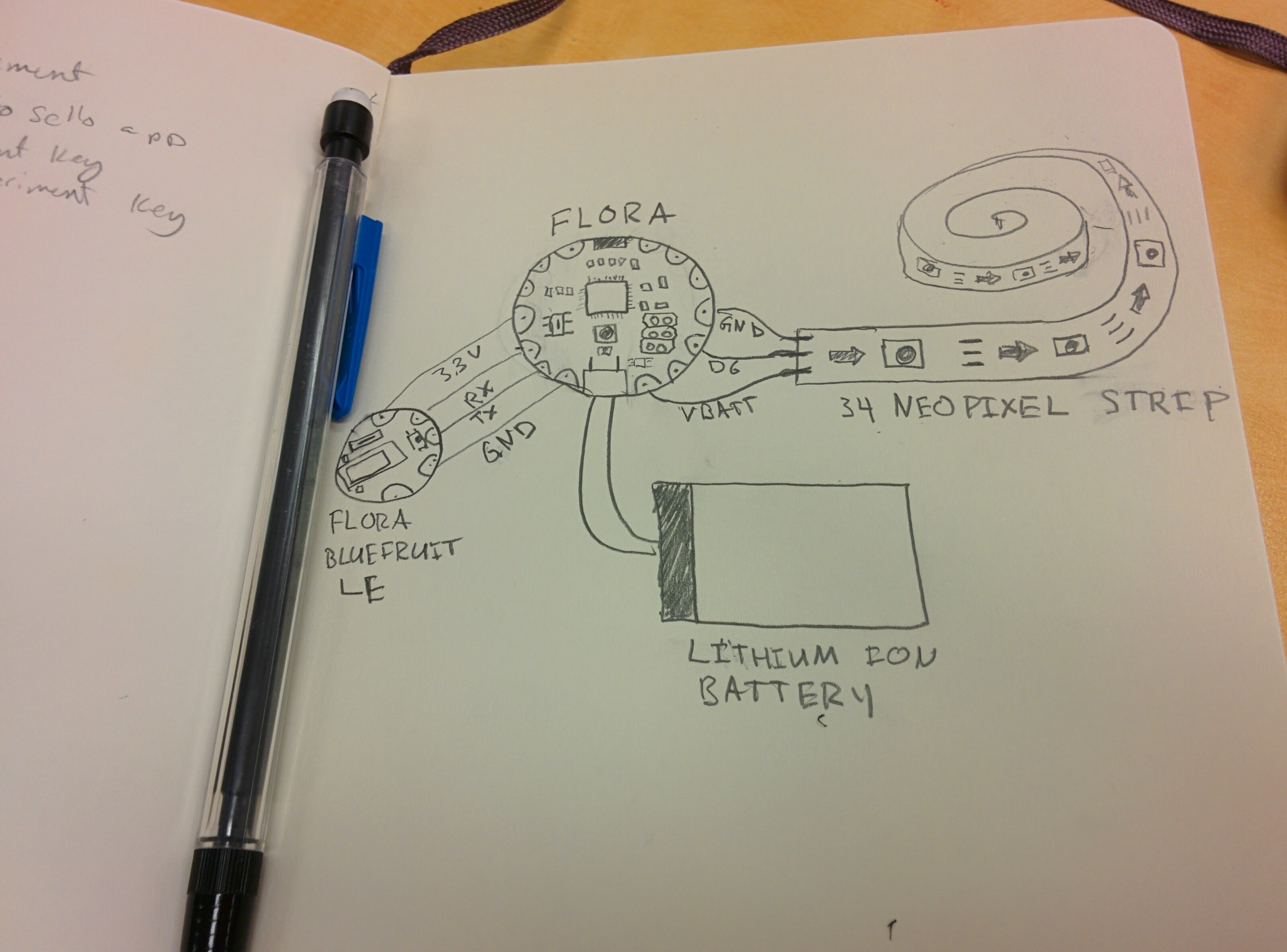 Hand-drawn bespoke circuit diagram