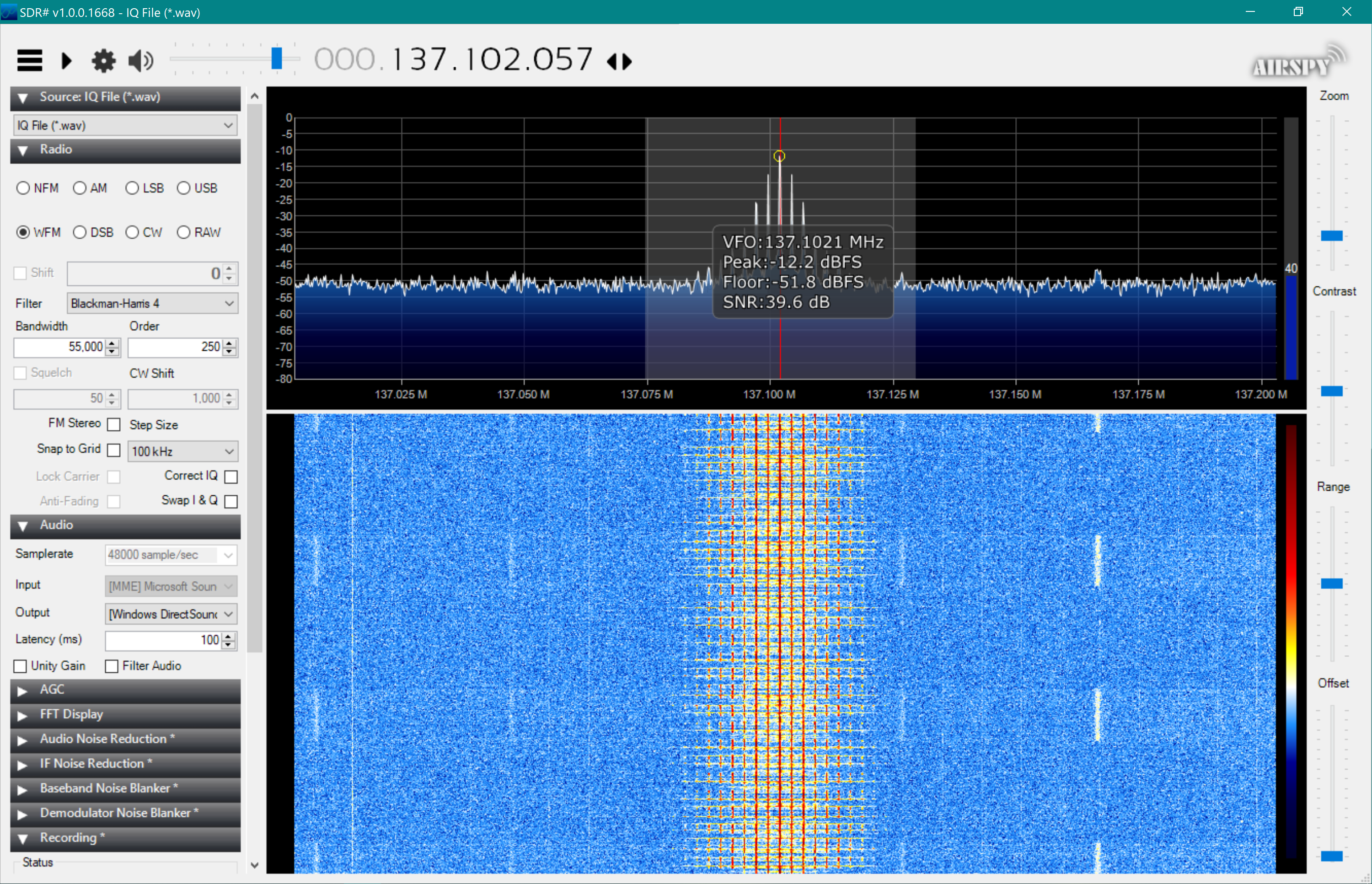 SDR sharp configured and showing download