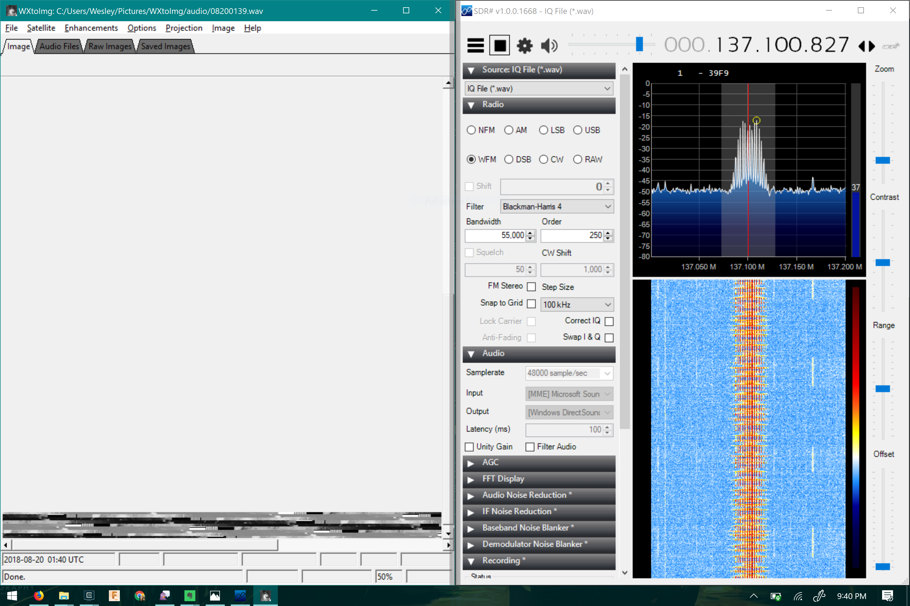 SDR sharp and wxtoimg decoding a signal